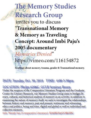 Memory Studies Research Group Flyer