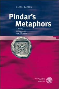 Title of book: Pindar's Metaphors. Cover is blue in top-half and purple in bottom-half. There is a ancient medallion center-left with an image of a man running.