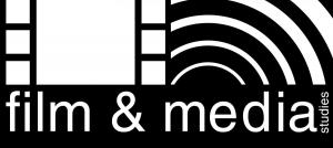 Logo for Film and Media Studies. Includes text and a graphic displaying a film strip and what looks like sound waves.
