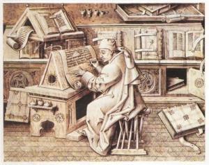 Image of monk transcribing manuscript